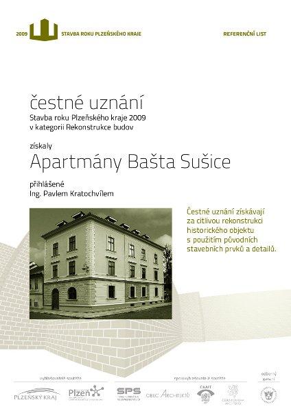 Čestné uznání Stavba roku Plzeňského kraje 2009