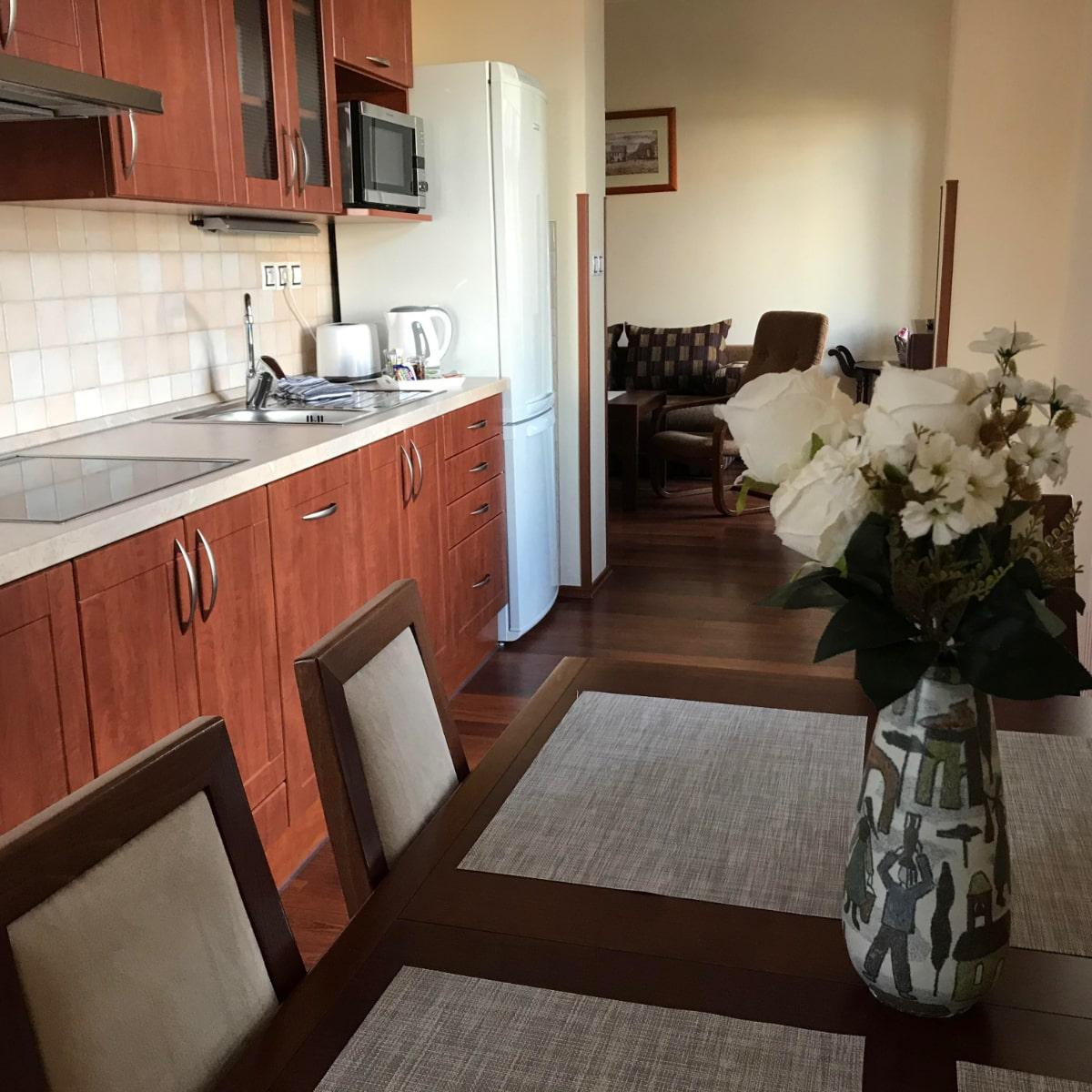 Apartmán Deluxe - jídelní kout s kuchyňskou linkou