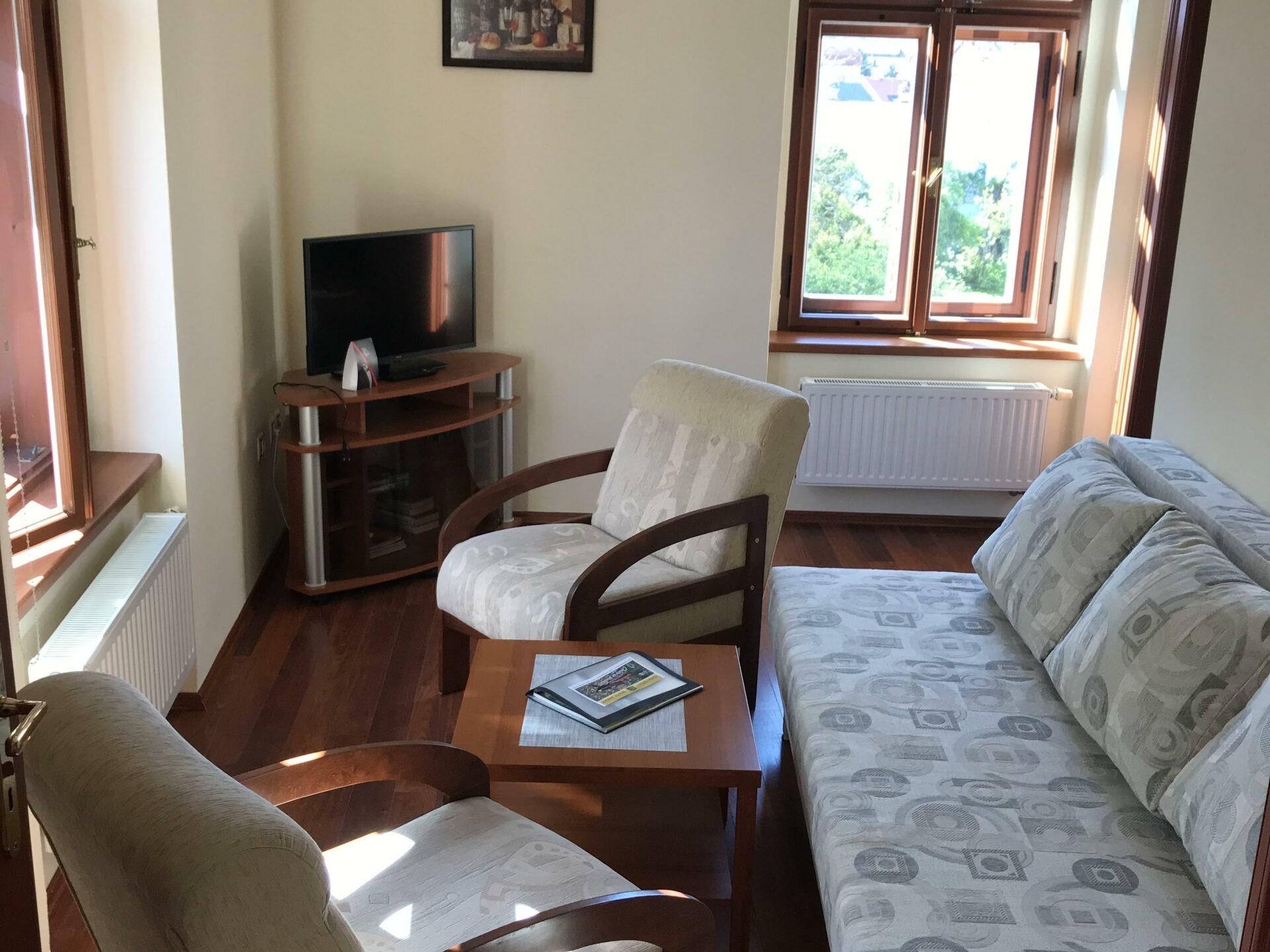 Apartmán Superior - Obývací pokoj s TV